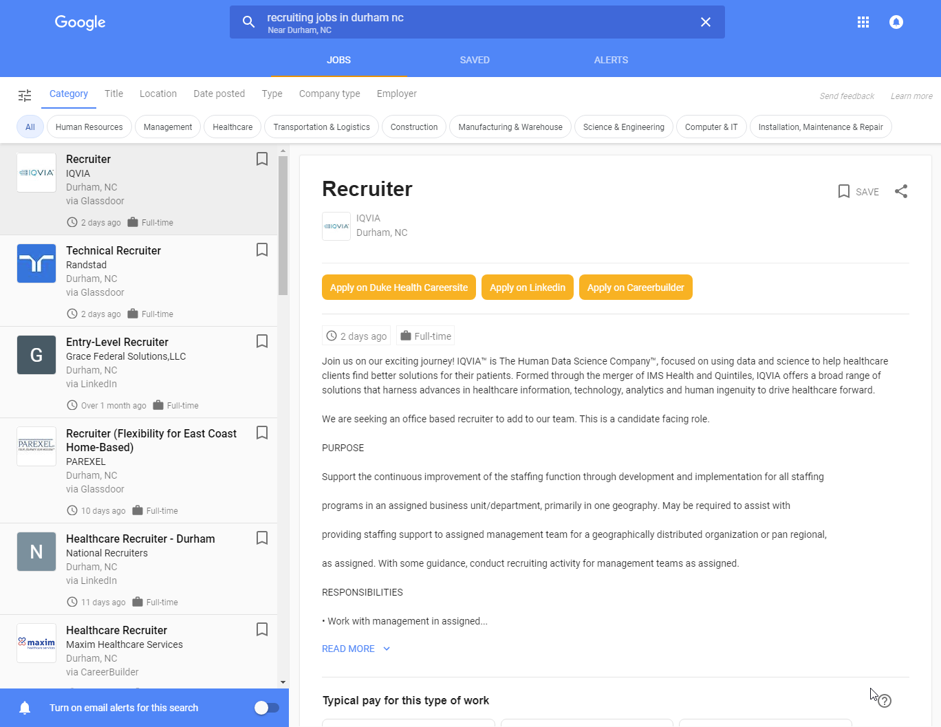 google for jobs example
